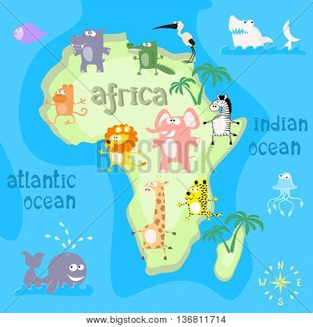 Concept design map of african continent with animals drawing in funny cartoon style for kids and preschool education. Vector illustration