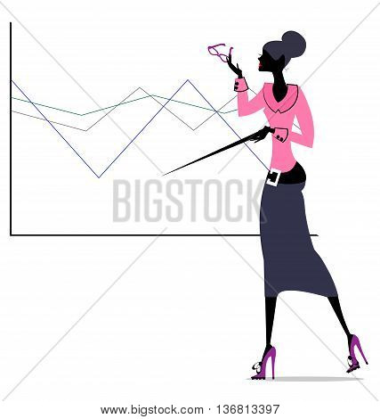 abstract scholar girl in pink-gray dress with eyeglasses