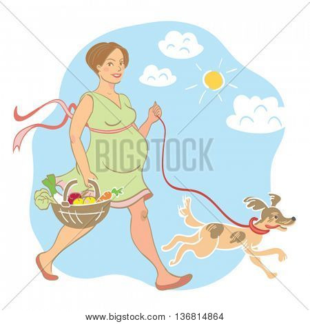 Smiling, pregnant woman strolling outside with her dog and a basket of vegetables on a sunny, blue sky day with just a few clouds in the sky. Vector illustration.