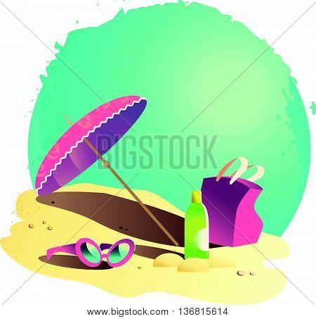 Vector flat summer cartoon illustration. Sea coast, sand, sky. Rest holiday accessories on the sand.  Sunglasses, umbrella, bag, cream bottle. Summer postcard, advertising, poster.
