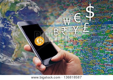 Hand holding mobile phone with digital wallet Digital money concept coded money