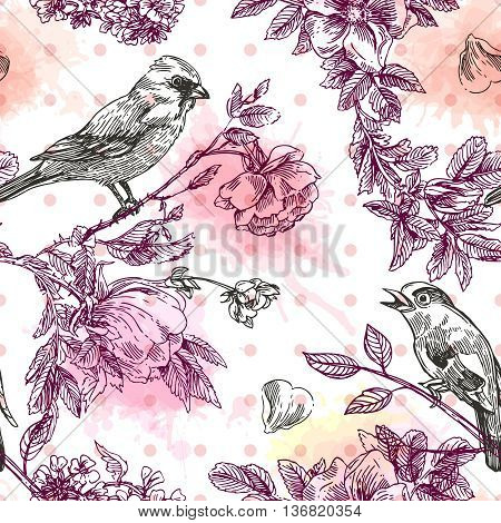 Beautiful hand drawn vector  illustration bird and flowers. Boho style seamless pattern.