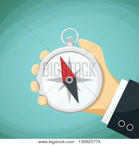 Man holds in his hand a compass. Stock Vector cartoon illustration.