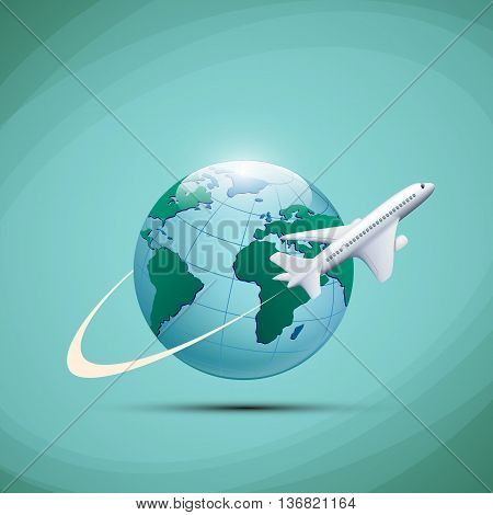 Airplane flies around the earth planet. Stock vector illustration.