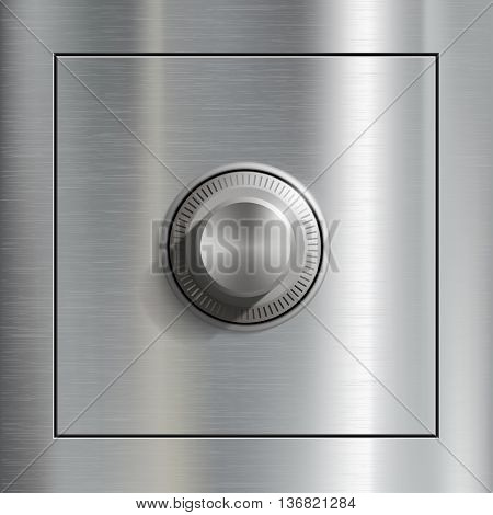 Deposit box and Steel door. Stock vector illustration.