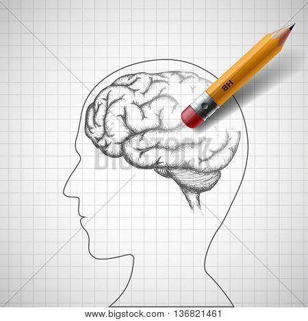 Pencil erases the human brain. Alzheimer disease. Stock vector illustration.