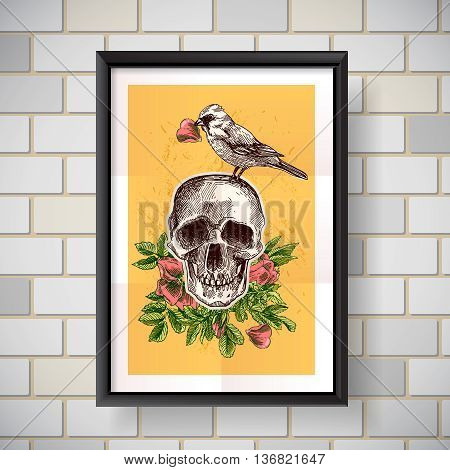 Beautiful hand drawn vector  illustration bird and skull. Boho style drawing. Use for t-shirts, print, poster, postcard, wedding invitations.