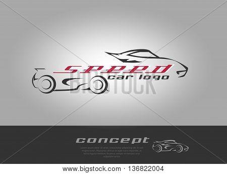 Logo of rapid super car. Vector Illustration.