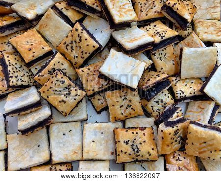 bread pieces for coffee. food background .