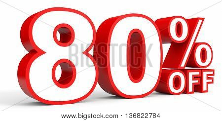 Discount 80 Percent Off. 3D Illustration On White Background.
