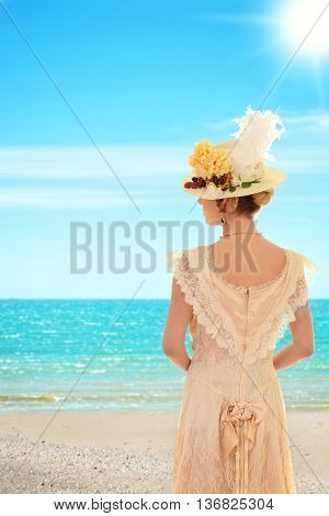 portrait of Vintage woman at the beach