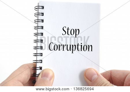 Stop corruption text concept isolated over white background poster