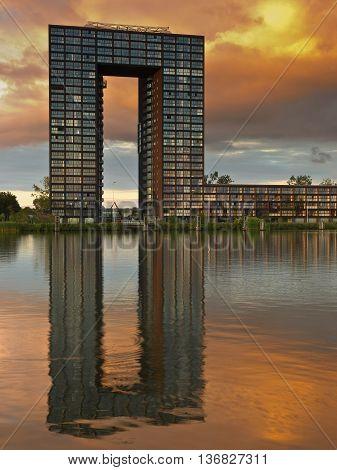 Famous Landmark of Groningen city. The Tasman arch tower apartment complex.