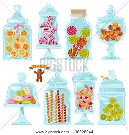 Sweet shop. Glass jars of various forms with diferent candies. Vector illustration