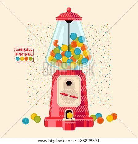 Vintage Gumball machine. Candy Dispenser. Vector illustration