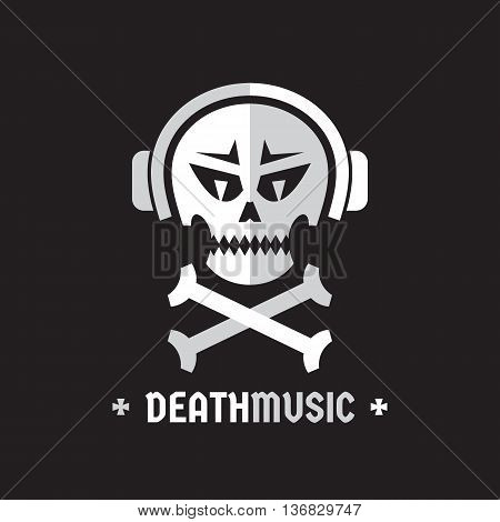 Death music - vector logo template concept illustration. Skull with headphones sign. Design element.