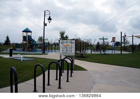SHOREWOOD, ILLINOIS / UNITED STATES - AUGUST 30, 2015: The Village of Shorewood's Towne Center Park includes a playground designed for children 5-12 years old.