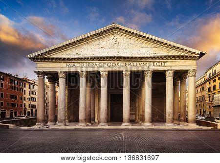Famous Pantheon monument in Rome Latium Italy