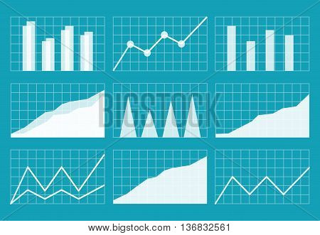 Business graphics and charts set. Analysis and management of financial assets eps10