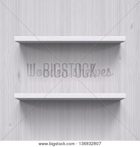 Two horizontal wooden shelves. Illustration for best design idea