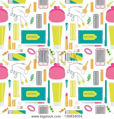 What you will find in woman bag. Set with headphones, candy, purse, hair scrunchies, comb, cell phone, flash card, adhesive tape, gum, nail file, pen, lipstick, passport, hand cream. Seamless pattern.