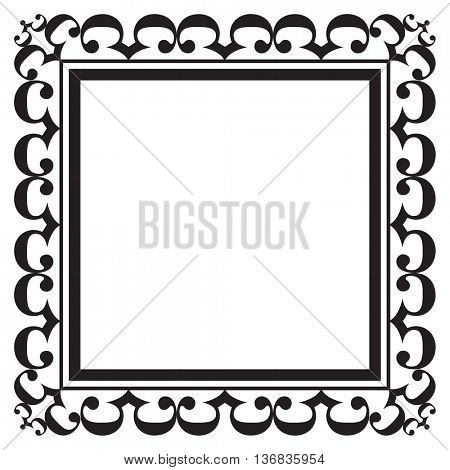 Black ornate square blank frame for pictures