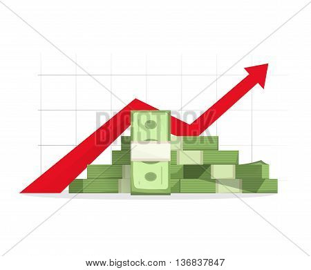 Pile of cash with red rising graph with upward arrow vector illustration, concept of business success, financial growth diagram, aim reaching, analytics, report presentation symbol, isolated on white