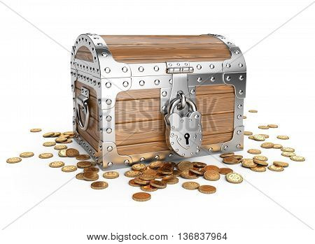 Closed wooden treasure chest with golden coins. Isolated on a white background 3d image.