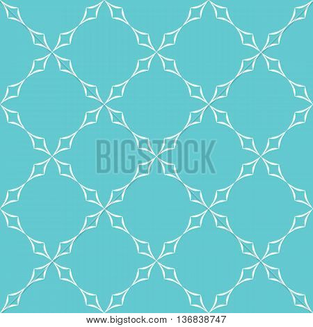 Abstract geometric pattern. Trellis of white curved diamonds on light blue background. Seamless repeat.