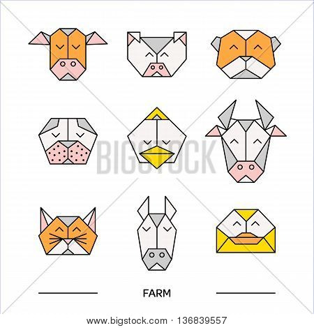 Low poly front view animal heads. Animal polygonal. Vector low poly animals. Low poly line design icon set. Vector low poly animals for tattoo or coloring book. Low poly farm animals collection.