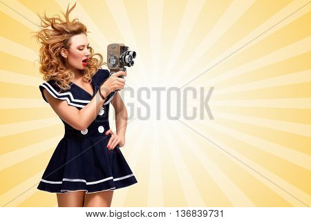 Pin-up sailor girl shooting a movie with an old cinema 8 mm camera on cartoon style background.