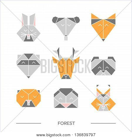 Flat origami animals. Geometric line design icon set. Vector origami animals for tattoo or coloring book. Vector origami zoo animals. Vector origami forest animals collection.