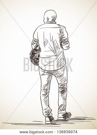 Sketch of baldheaded man, Hand drawn illustration