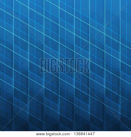 Abstract Dark Blue Modern Minimal Digital Network Connections, Technology Background Creative Design Template with Network Mesh and Transparent 3D Cubic Pattern - Illustration in Vector Format
