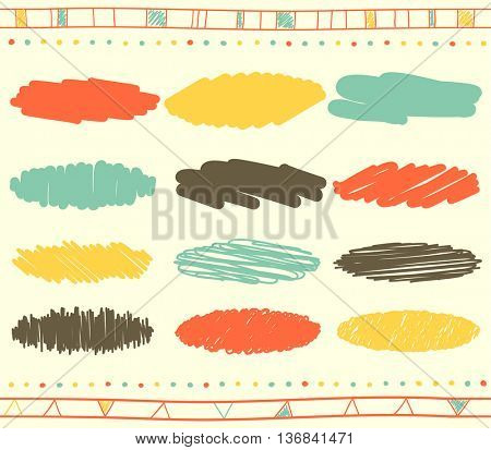 Vector collection of retro scribbled lines with hand drawn style of yellow, blue, red and grey colors
