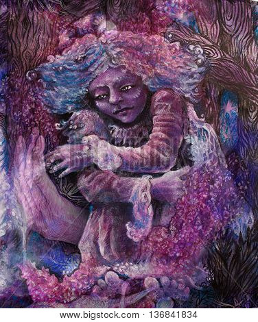 lilac flower fairy sitting on a violett hand.