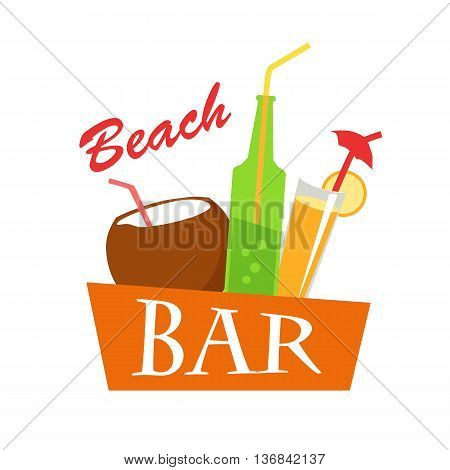 Beach bar vector flat illustration. Cold drinks for summer vacations set. Juice, coconut milk, cocktail, soda, isolated on white background. Refreshing coolness concept design.