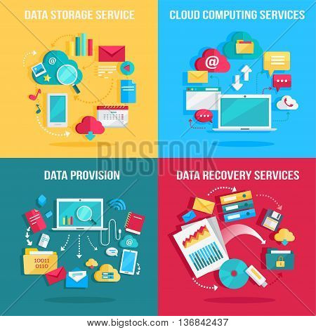 Set of concept flat designs illustrations for data storage, cloud computing, data provision, data recovery services. Numerous colored web icons, business stuff, computer parts, infographic elements.