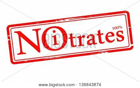 red stamp with the text No Nitrates isolated on white. vector illustration