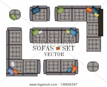 Sofas Armchair Set. Top view. Furniture with Stitching , Pouf, Pillows for Your Interior Design. Flat Vector Illustration. Scene Creator. Grey Color 4