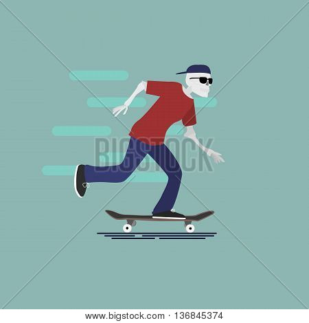 Vector skilet character with goggles and cap riding skateboard. Urban citizen character on blue background. Skateboarding illustration.