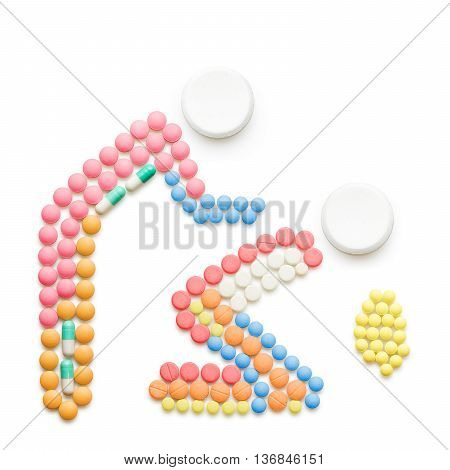 Creative health concept made of drugs and pills isolated on white. Person helping a vomiting one.