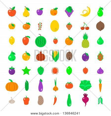 Fresh fruits and vegetables flat vector icons set. Farm harvest graphic elements. Exotic tropical citrus simple symbols. Organic food pictograms. Healthy eating objects. Vegetarian nutrition products
