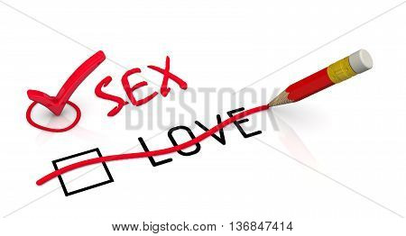 Sex, not love. Red pencil crossed out the word