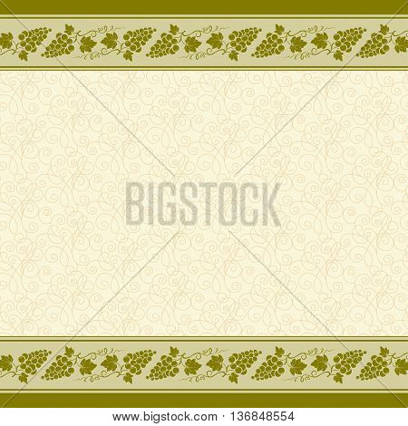 Decorative borders and background with bunches of grape, grape leaves, swirls. Seamless pattern swatch is included.