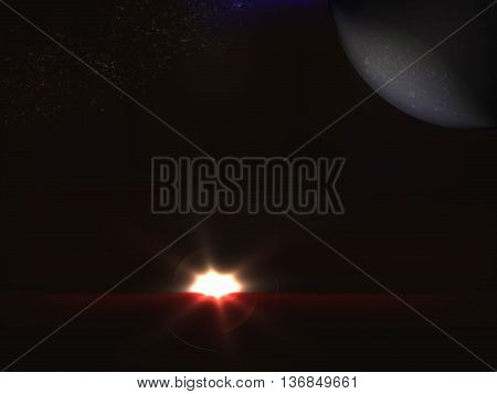 Futuristic space landscape with rising sun, planet in the sky and the belt of stars