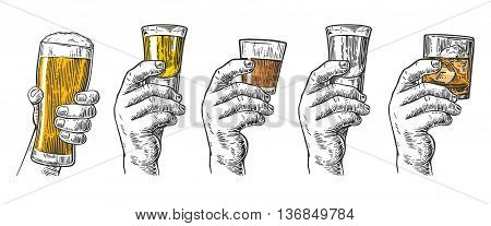 Male hand holding a glasses with beer tequila vodka rum whiskey and ice cubes. Vintage vector engraving illustration for label poster invitation to invitation to party and birthday.