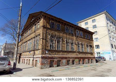 Nizhny Novgorod Russia. - April 07.2016. Residential wooden two-storey house on the street Kovalikhinskaya 28