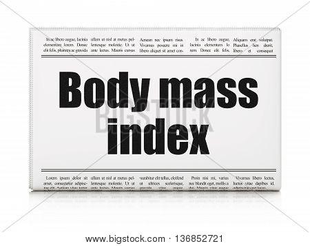 Health concept: newspaper headline Body Mass Index on White background, 3D rendering