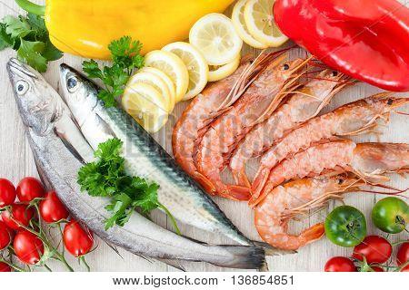 Mackerel, Codfish And Prawns